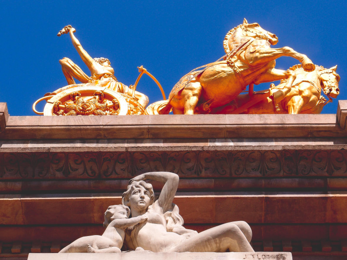 Barcelona Street Photography, cascada monumental fountain, from below, golden chariot, stone figure