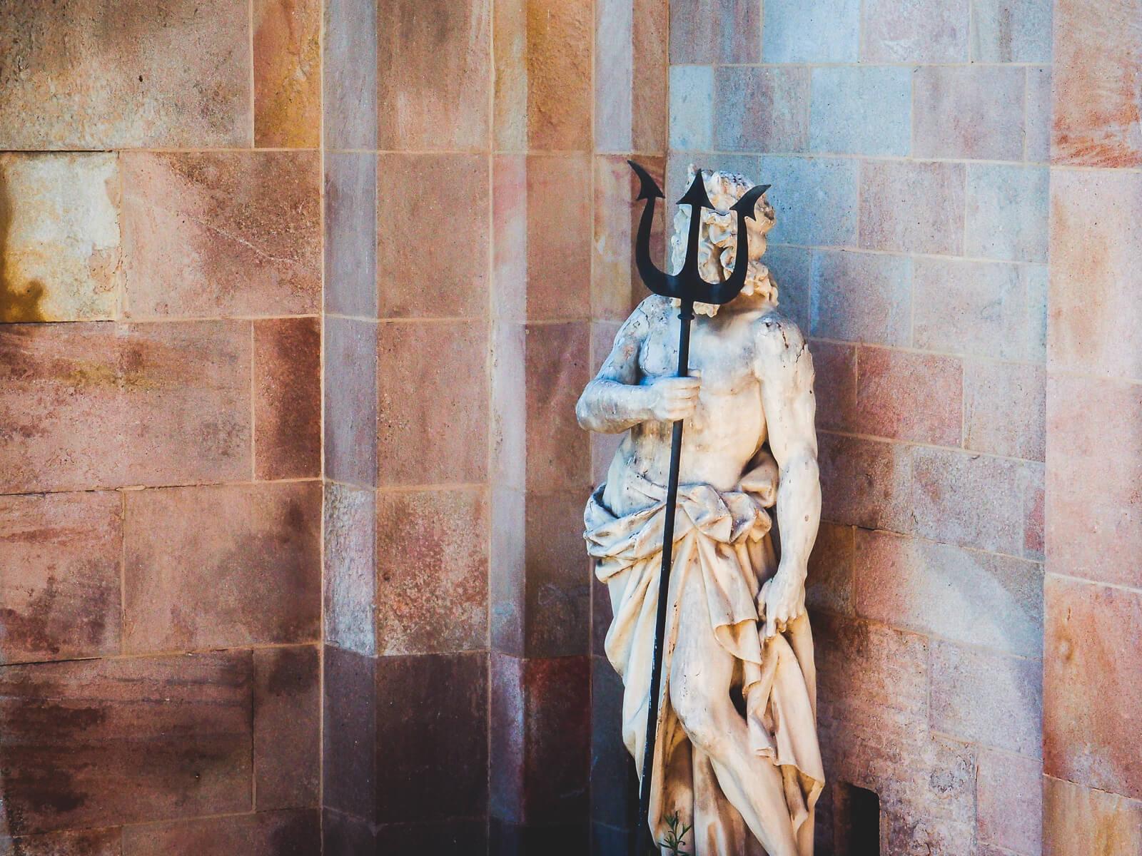 Barcelona Street Photography, Poseidon holding trident, cascada monumental fountain, stone figure