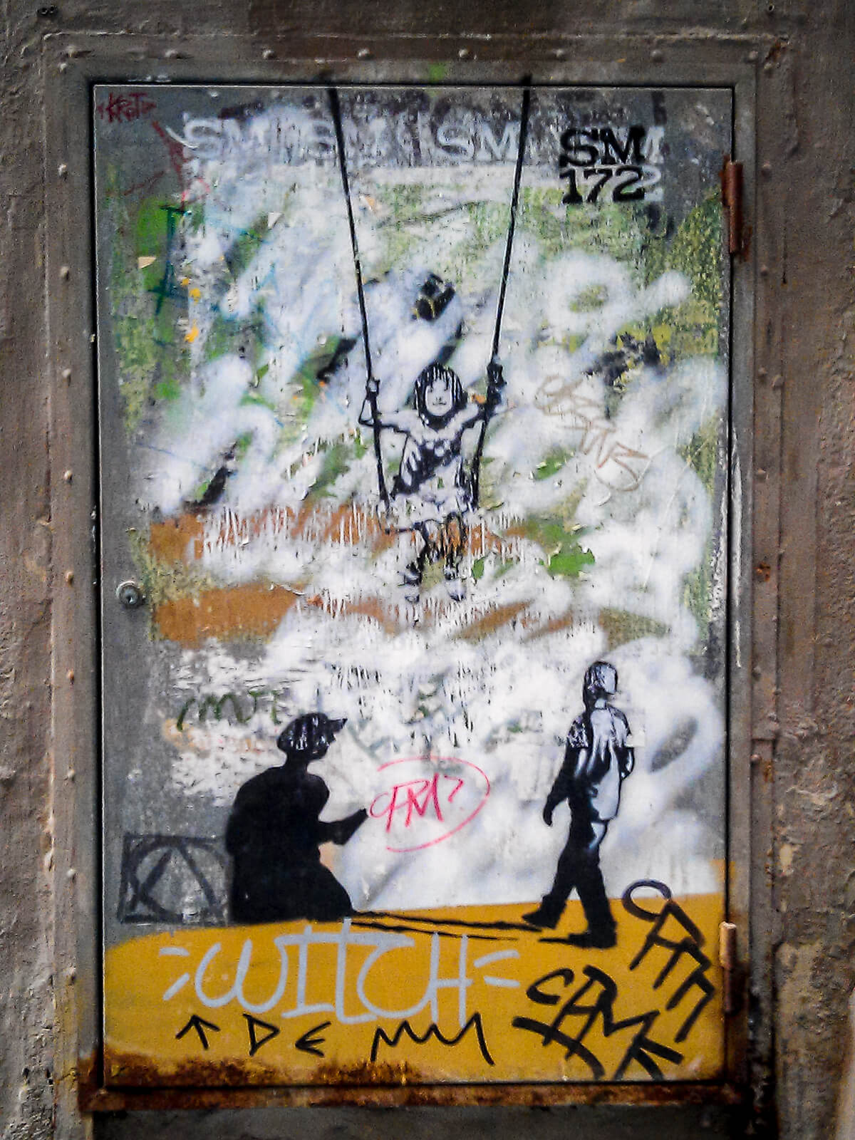Barcelona Street Photography, SM 172, girl on swing, street art stencil