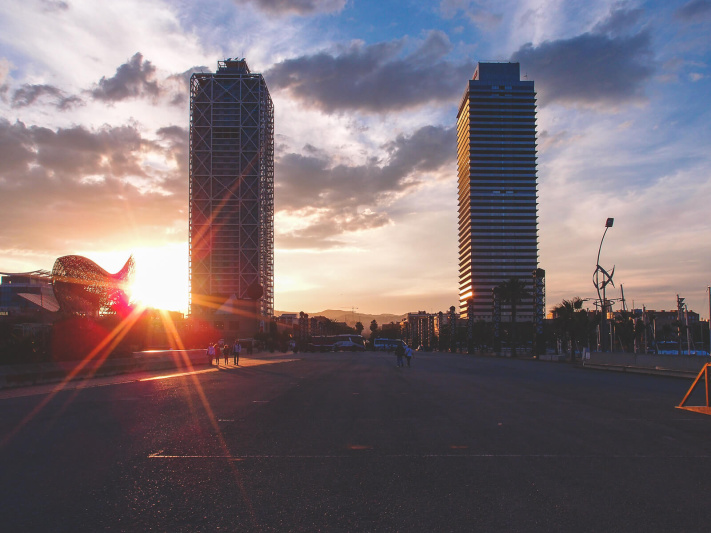 Barcelona, marina village towers sunset