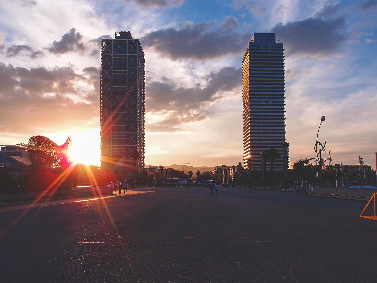 Barcelona Street Photography, marina village towers sunset