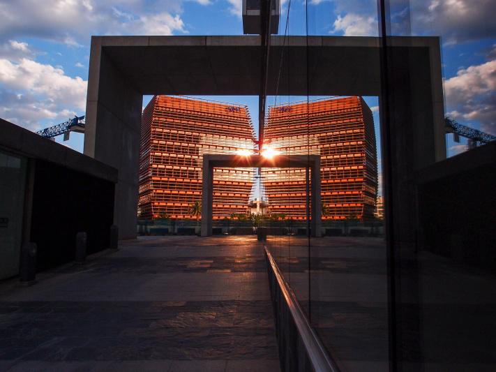 Barcelona, CNMC building mirror, Comision Nacional Mercados Competencia