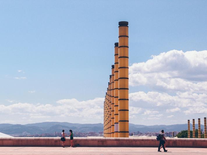 Barcelona, Parc Montjuic, olympic park columns