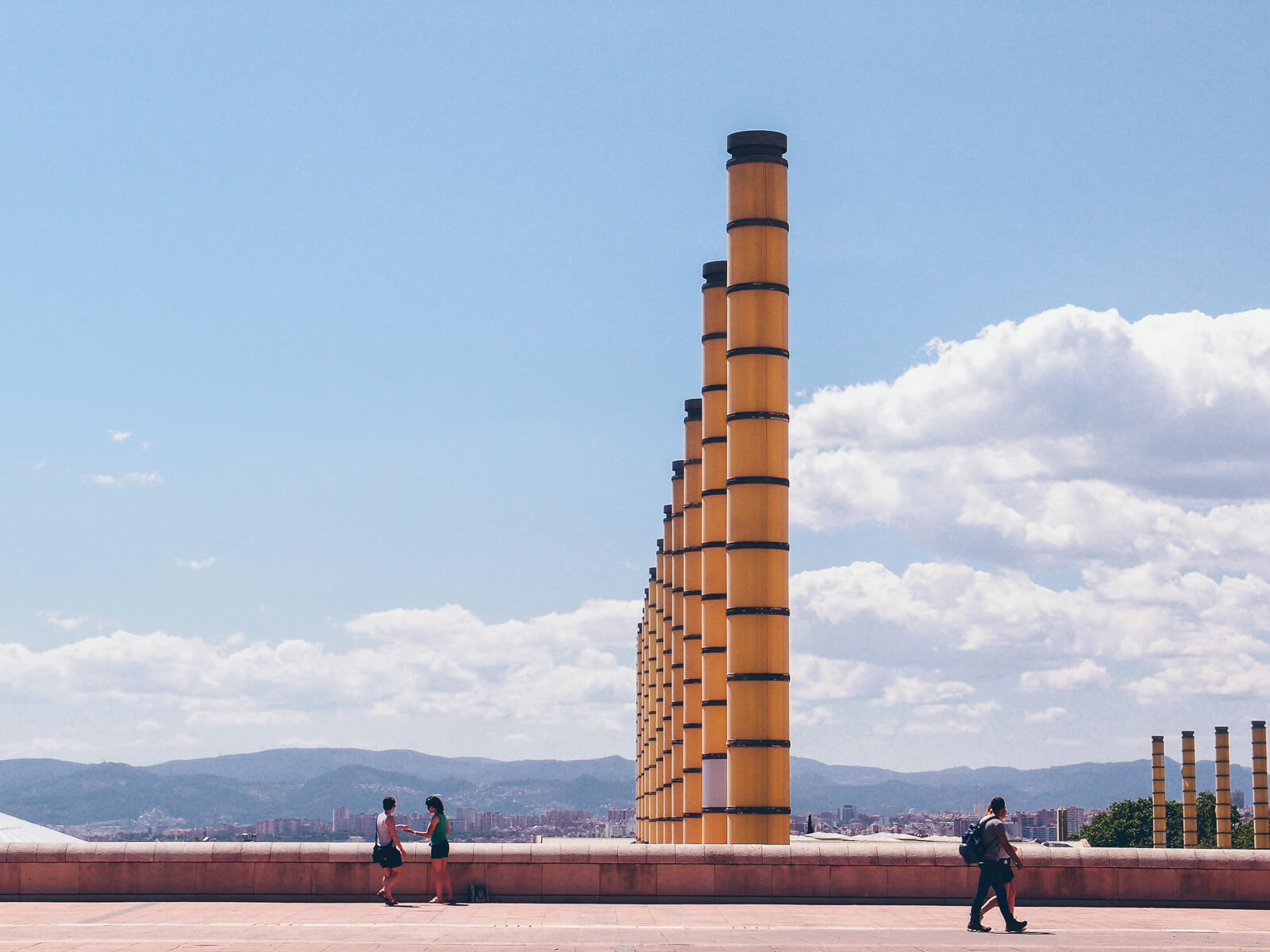 Barcelona Street Photography, Parc Montjuic, olympic park columns