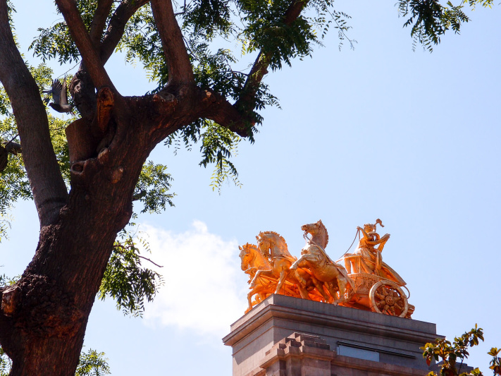 Barcelona, cascada monumental fountain, golden chariot