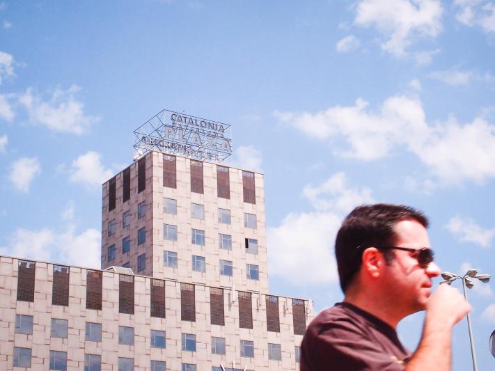 Barcelona Street Photography, billboard sign, catalonia plaza hotel