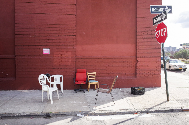 New York City, Bronx, empty chairs, sidewalk furniture, street seats