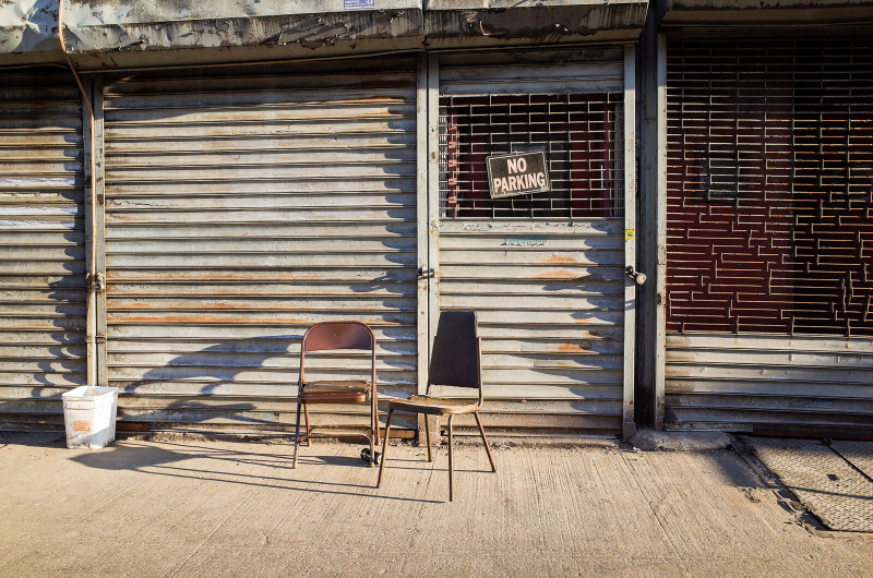New York City, Williamsburg, empty chairs, sidewalk furniture, street seats