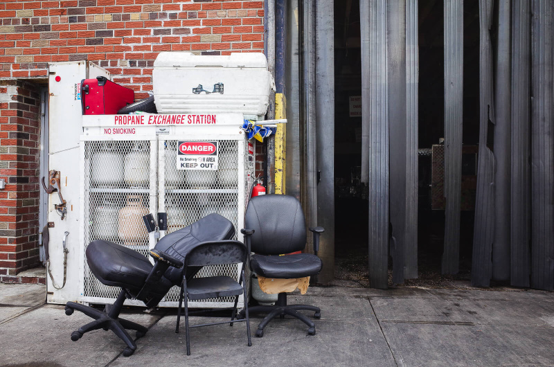 New York City, Brooklyn, empty chairs, sidewalk furniture, street seats
