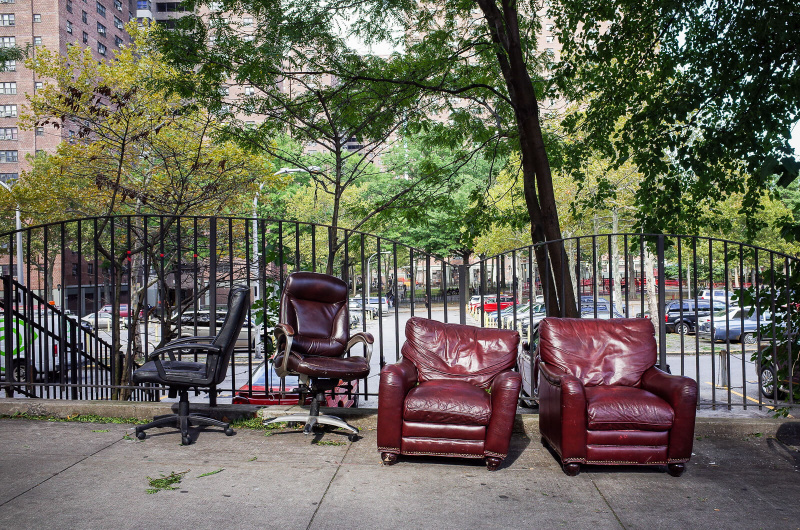 New York City, empty chairs, sidewalk furniture, street seats