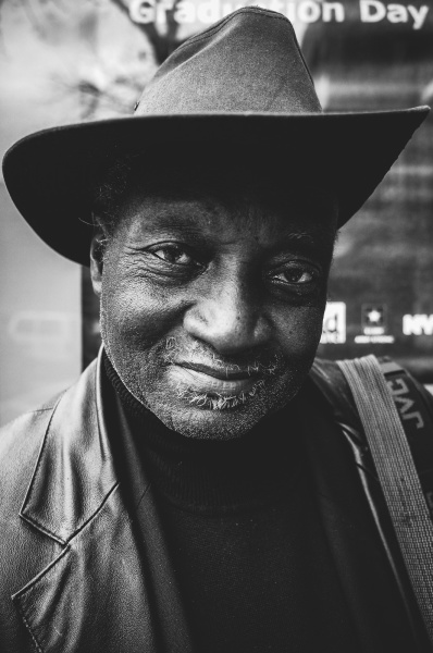 Black and White Portrait of Louis Mendes, Polaroid Photographer in New York City, 2016