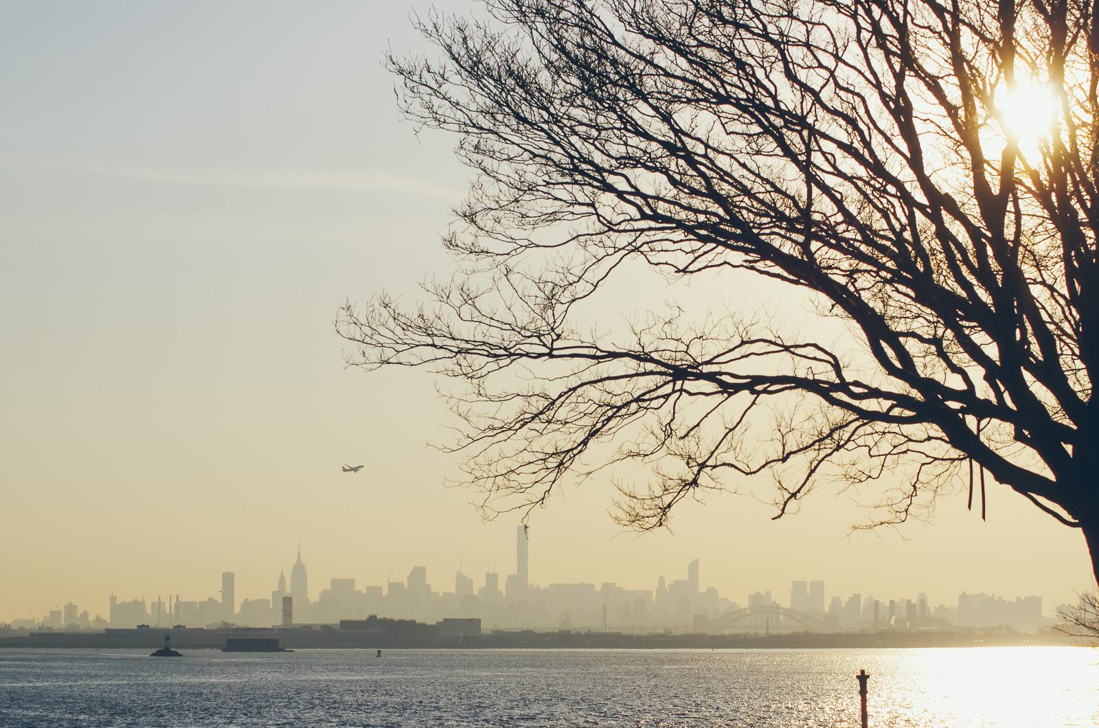 Skyline of Manhattan seen from the Ferry Point Park