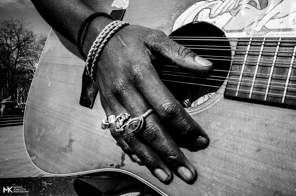Hand on Guitar, Washington Square Park, NYC, 2016