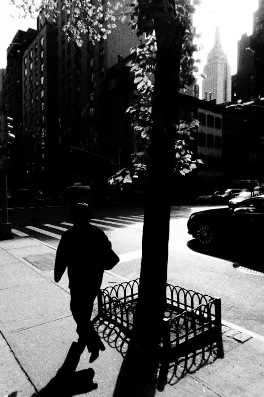 Sidewalk Silhouette, Olympus Tough Grainy Film Street Photography