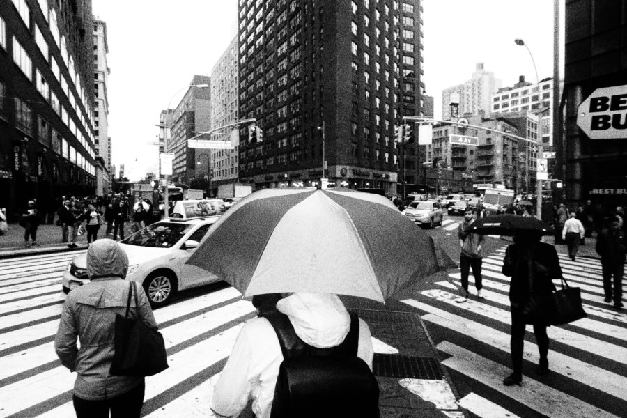 Street Crossing Umbrella, Olympus Tough Grainy Film Street Photography