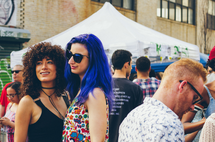 Deep Blue Purple Hair on the Bushwick Collective Block Party 2016