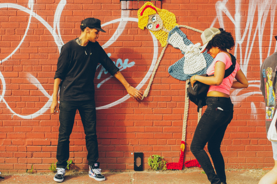 Knit Art Mural on the Bushwick Collective Block Party 2016