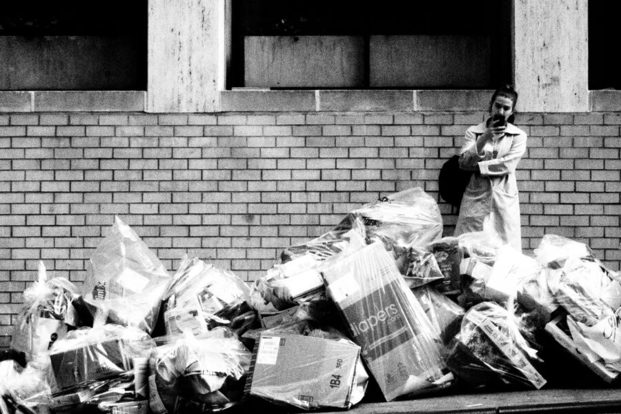 Sidewalk Trash, Olympus Tough Grainy Film Street Photography