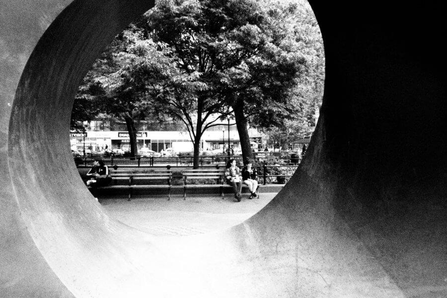 Urban Sculpture, Olympus Tough Grainy Film Street Photography