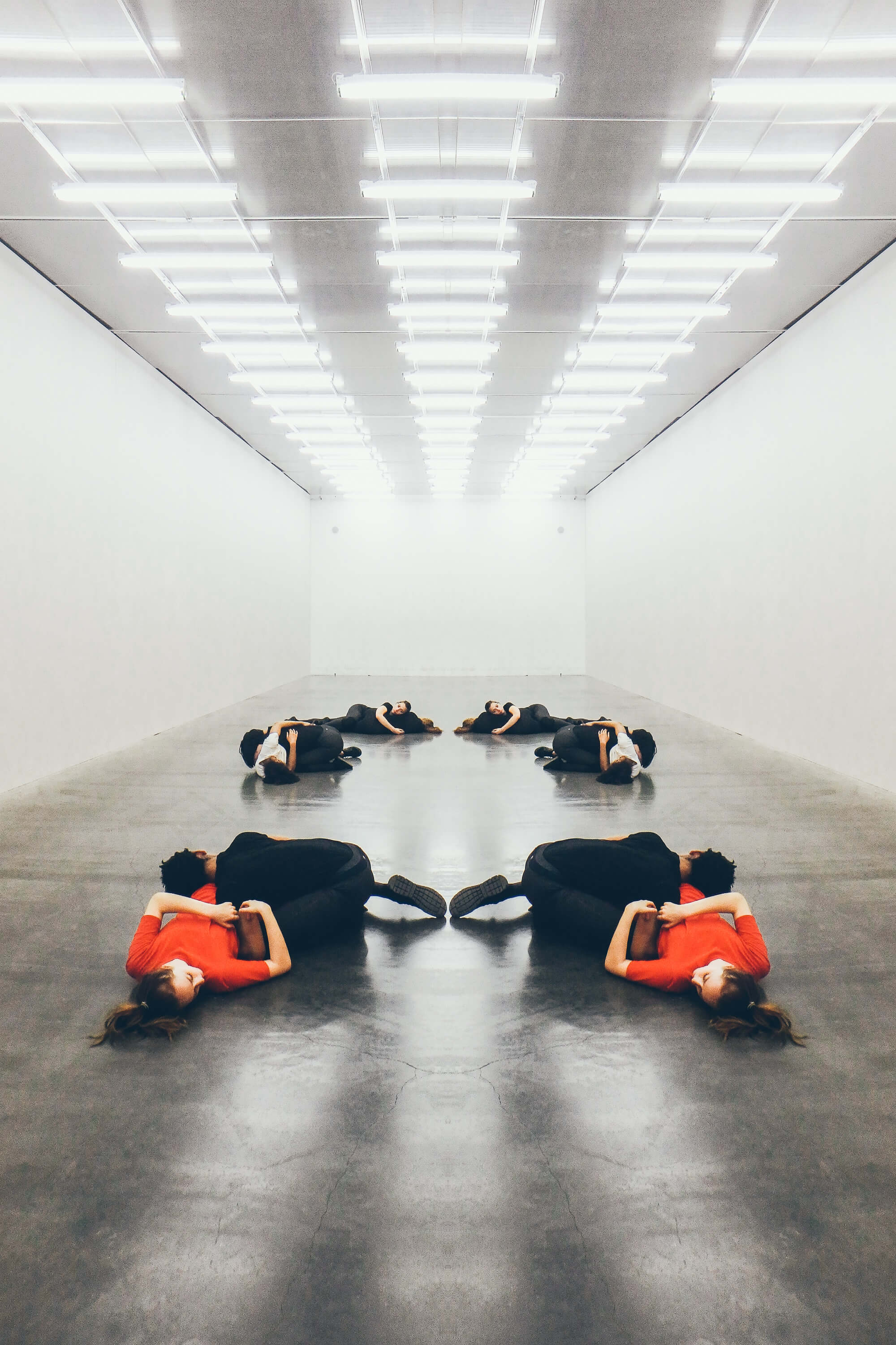 Reflected Photographs of  Touch Performance Artists in the New Museum, New York City