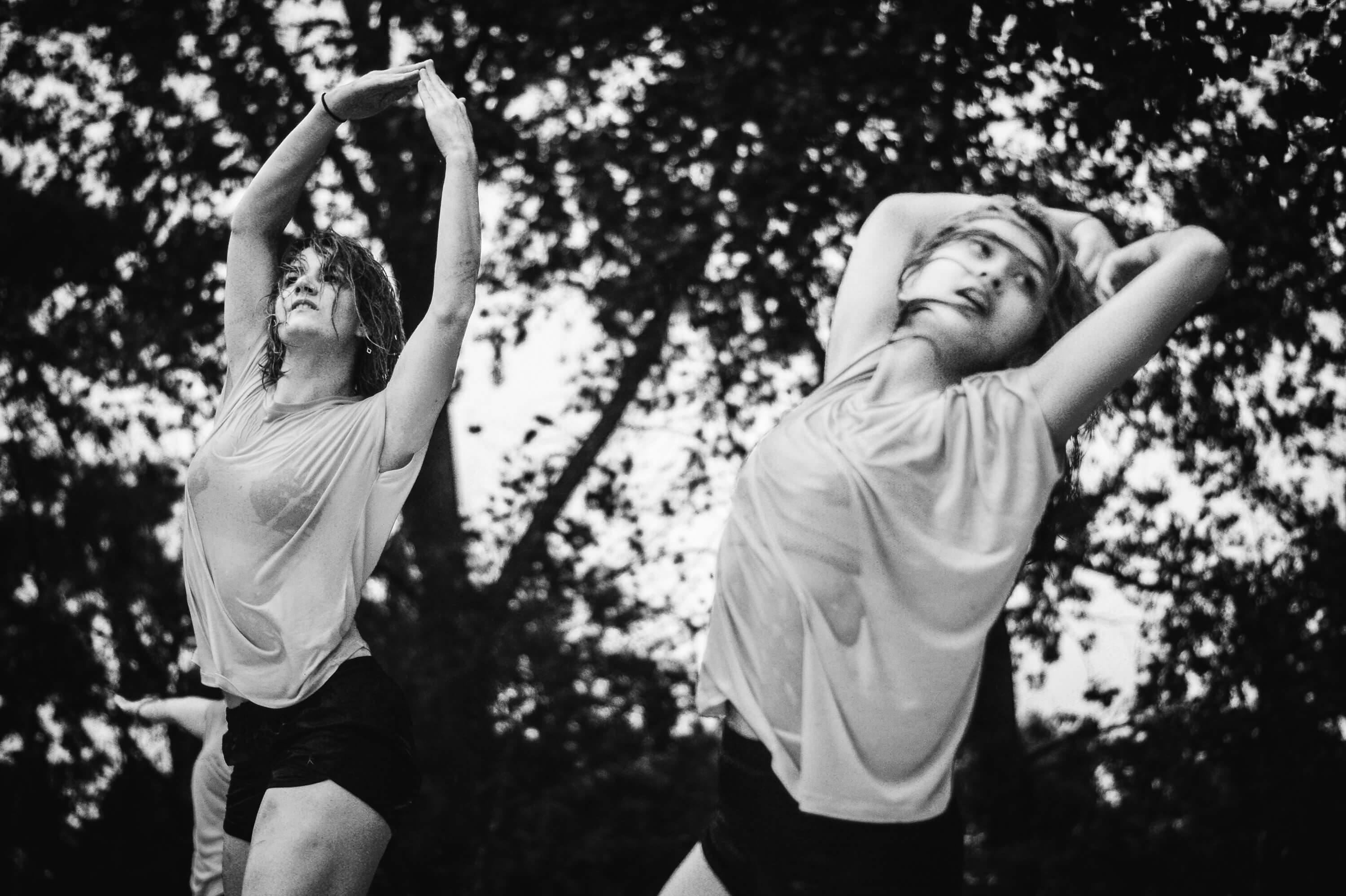 On Stage dance performance by an unnamed group, choreographed by Patrick Obrien, during a summer rain in the Socrates Sculpture Garden Quens, New York City, 2016