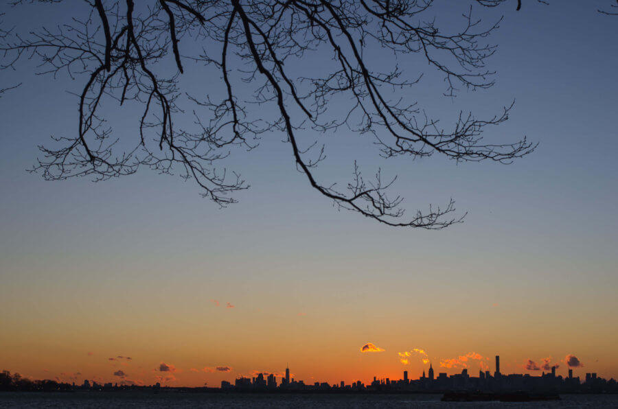 Sunset behind Manhattan viewed from Ferry Point Park in the Bronx, 2016
