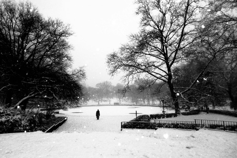 Black and White Street Photography during a Snowshower in New York City