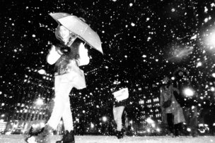 Black and White Street Photography during a Snow Shower in New York City