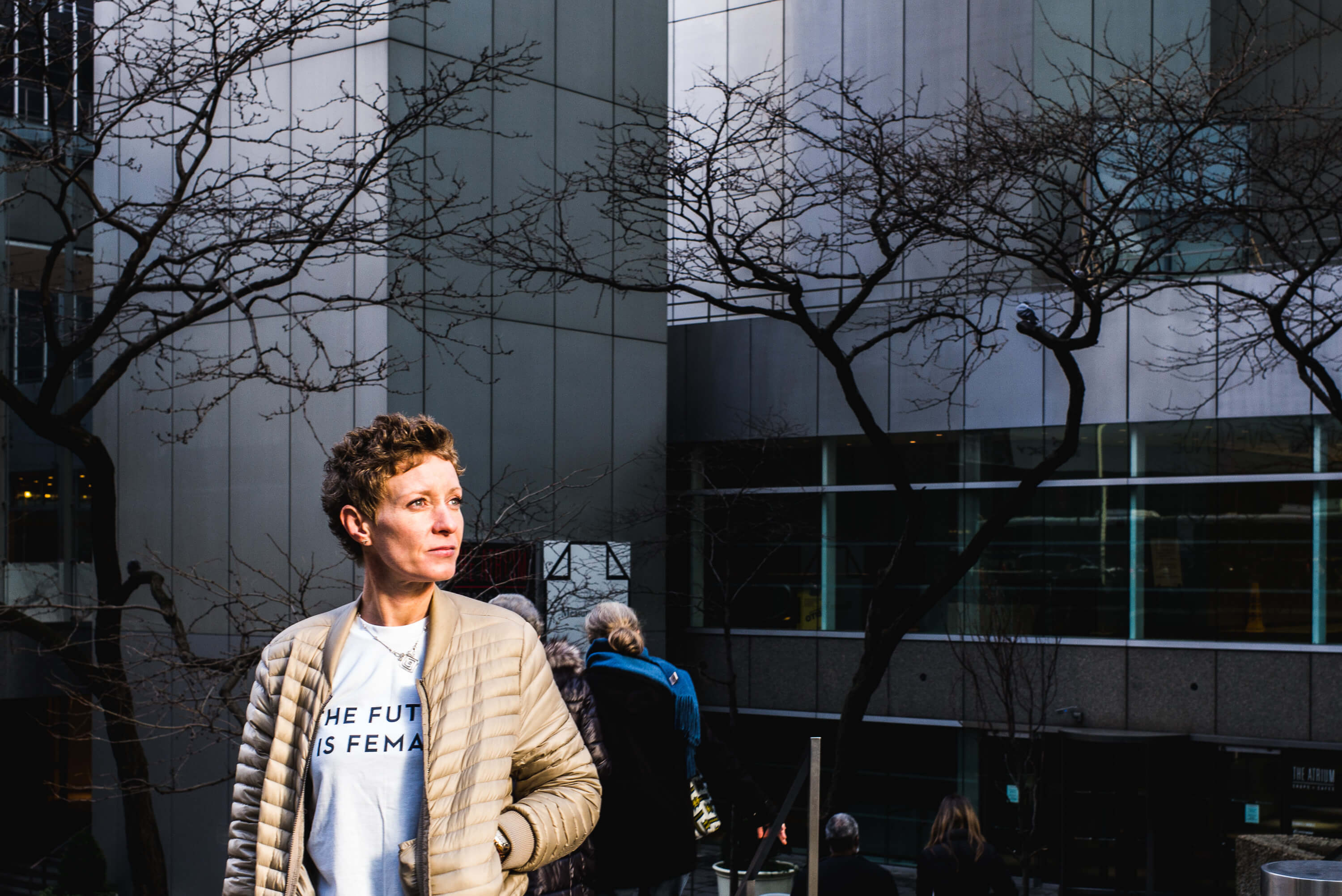 Woman wearing The Future is Female shirt during Woman´s March on New York City, January 21st. 2017