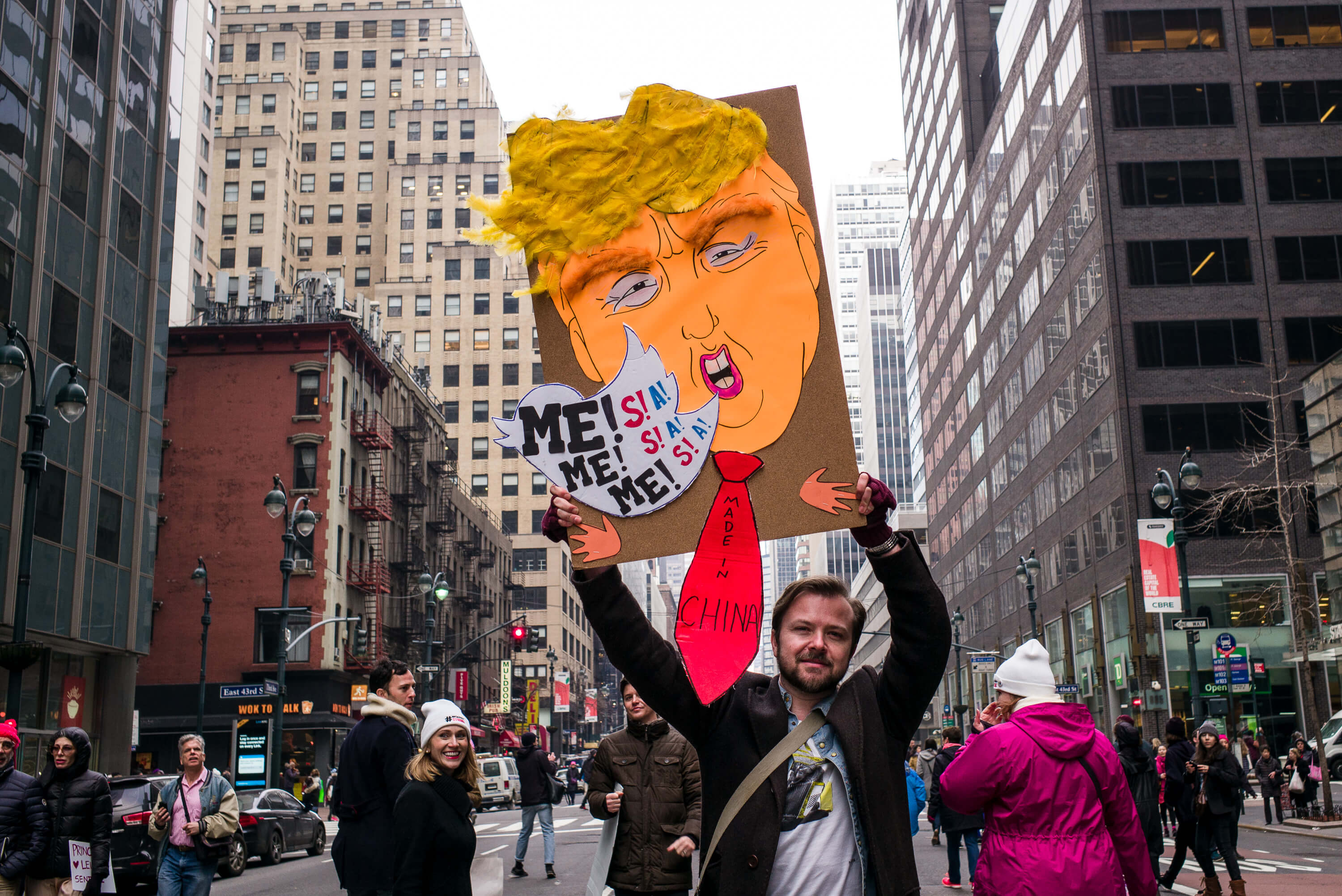 Portraits of People during Womans March on New York City, January 21st. 2017