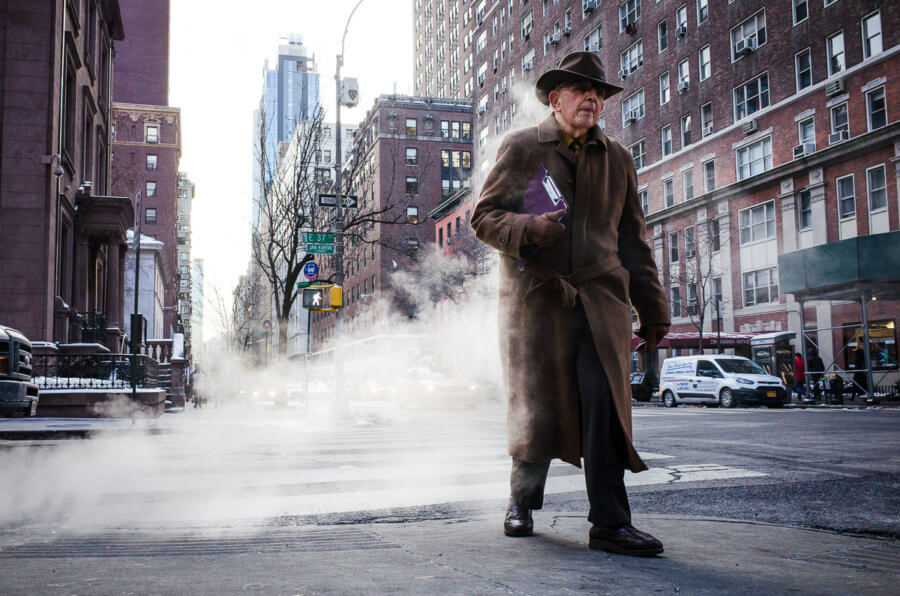 Coat, Hat and Smoke, Street Photography, New York City