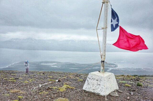 Dientes de Navarino Trekking Day 1 Chile Flag Pole