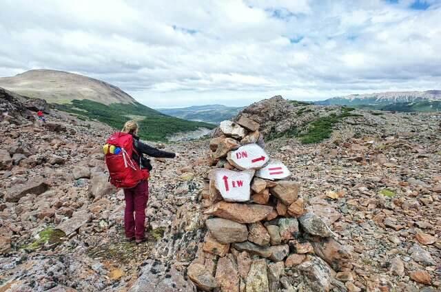 Dientes de Navarino Trekking Trail Marker Crossing Stones