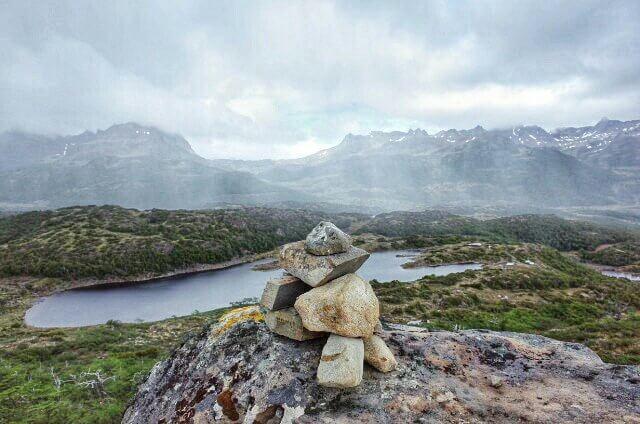 Dientes de Navarino Trekking Stone Marker Rain Wall Panorama View