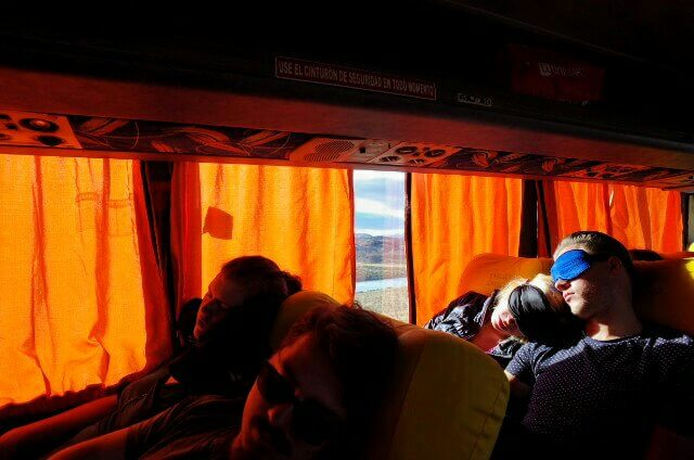 Sleeping in the Bus from El Calafate to El Chalten