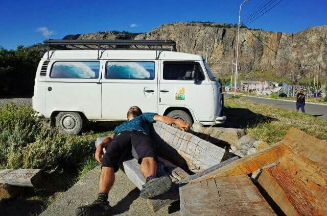 El Chalten White Wave Surfer VW Bus parking