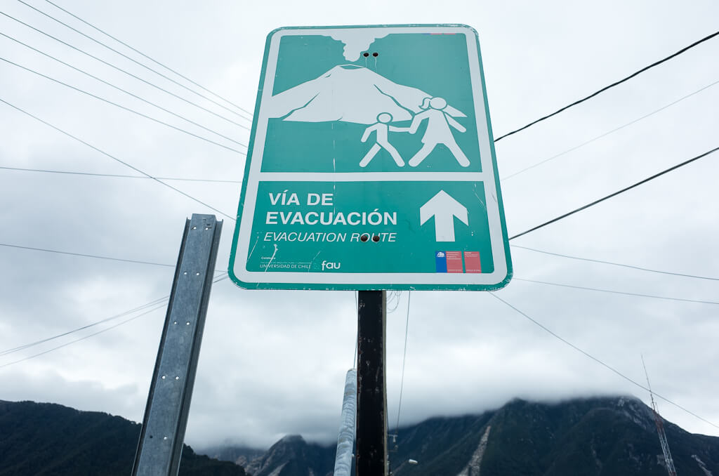 Chaiten Vulcan Evacuation Sign