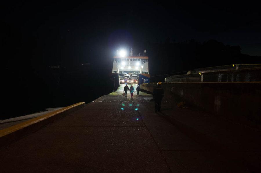 Puerto Montt Ferry Night Passenger Unboarding