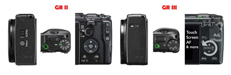 Ricoh GR II vs GR III Camera Buttons Comparison