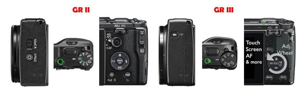 Ricoh GR II vs GR III Camera Buttons Comparison