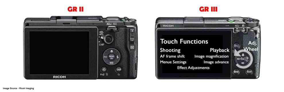 Ricoh GR II vs GR III Comparison Back View