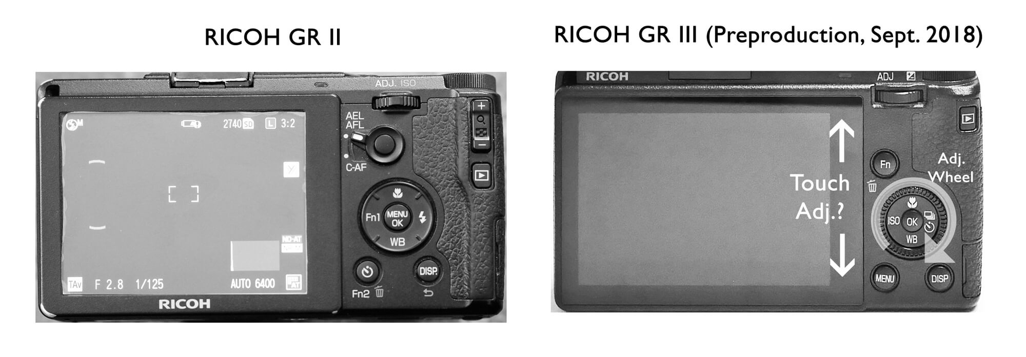 Ricoh GR II VS GR III Preproduction Back Camera Control Button Comparison