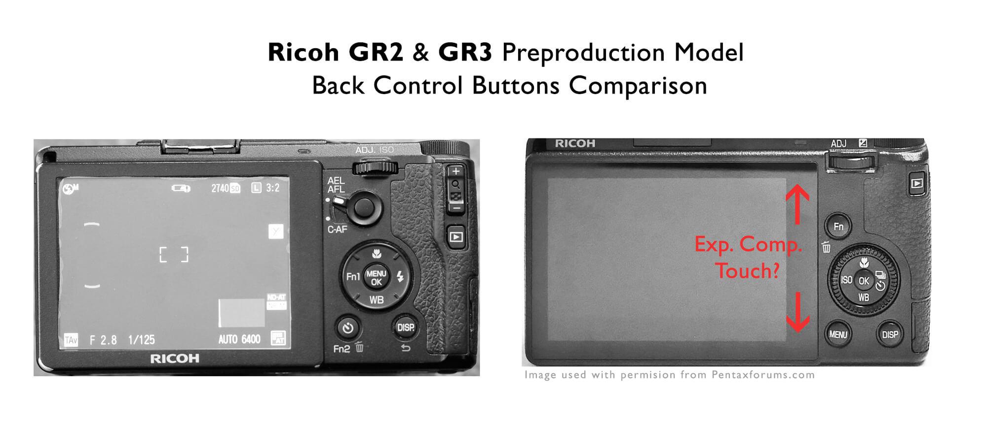 Ricoh GR2 GR3 Preproduction Back Camera Control Button Comparison