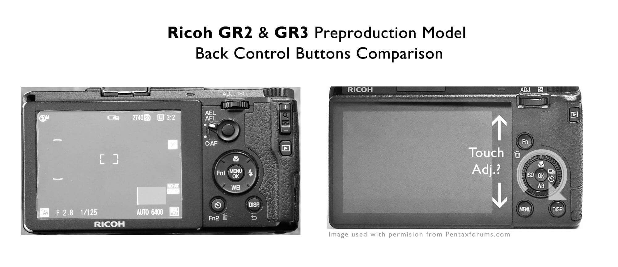Ricoh GR2 GR3 Preproduction Back Camera Control Button Comparison